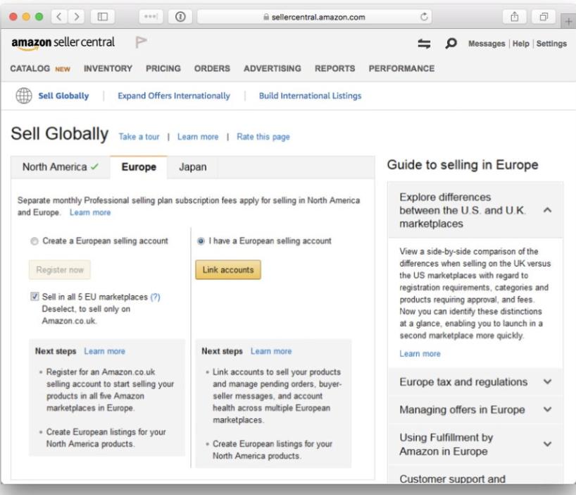 how to link international accounts on amazon